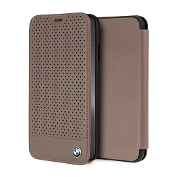 Чехол для iPhone XS Max BMW Signature Perforated Leather Booktype Brown