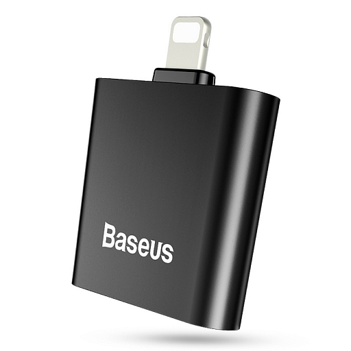 Адаптер для iPhone Baseus 2 in 1 IP Doble IP Socket Adapter L39 Black