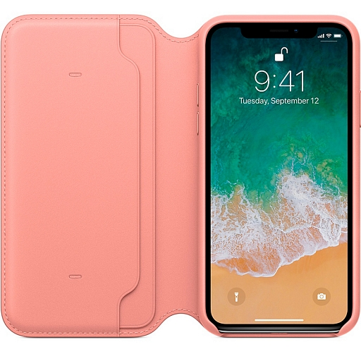 Чехол для iPhone X Apple Leather Folio - Soft Pink