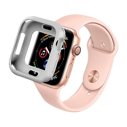 Чехол для Apple Watch Series 4/5 44mm COTEetCI SmartWatch TPU Case Silver