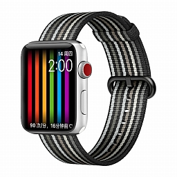 Браслет для Apple Watch 38/40mm COTEetCI W30 Rainbow Woven Nylon Strap Black Gray
