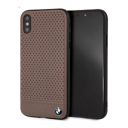 Чехол для iPhone XS Max BMW Signature Perforated Leather Hard Brown