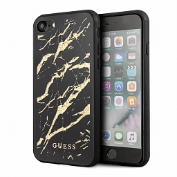 Чехол для iPhone 7/8/SE Guess Double Layer Marble Hard Tempered Glass Black