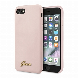 Чехол для iPhone 7/8/SE Guess Silicone Collection Gold Metal Logo Hard Pink