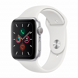 Apple Watch Series 5, 44mm Silver Aluminium Case, White Sport Band