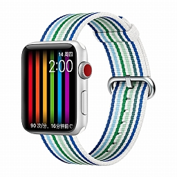 Браслет для Apple Watch 38/40mm COTEetCI W30 Rainbow Woven Nylon Strap White Blue