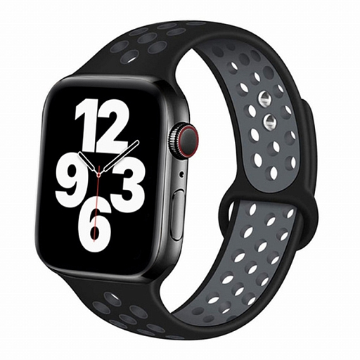 Ремешок для Apple Watch 42/44mm Dixico Silicone Band Nike+ Series Black/Gray