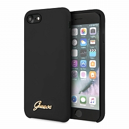 Чехол для iPhone 7/8/SE Guess Silicone Collection Gold Metal Logo Hard Black