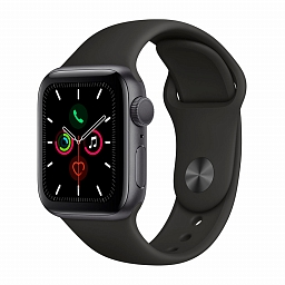 Apple Watch Series 5, 40mm Space Gray Aluminium Case, Black Sport Band