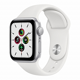 Apple Watch Series SE 44mm Silver Aluminium Case, White Sport Band