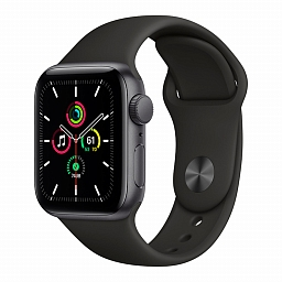 Apple Watch Series SE 44mm Space Gray Aluminium Case, Black Sport Band